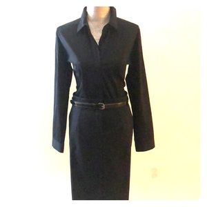 Theory black shirt and skirt dress with belt